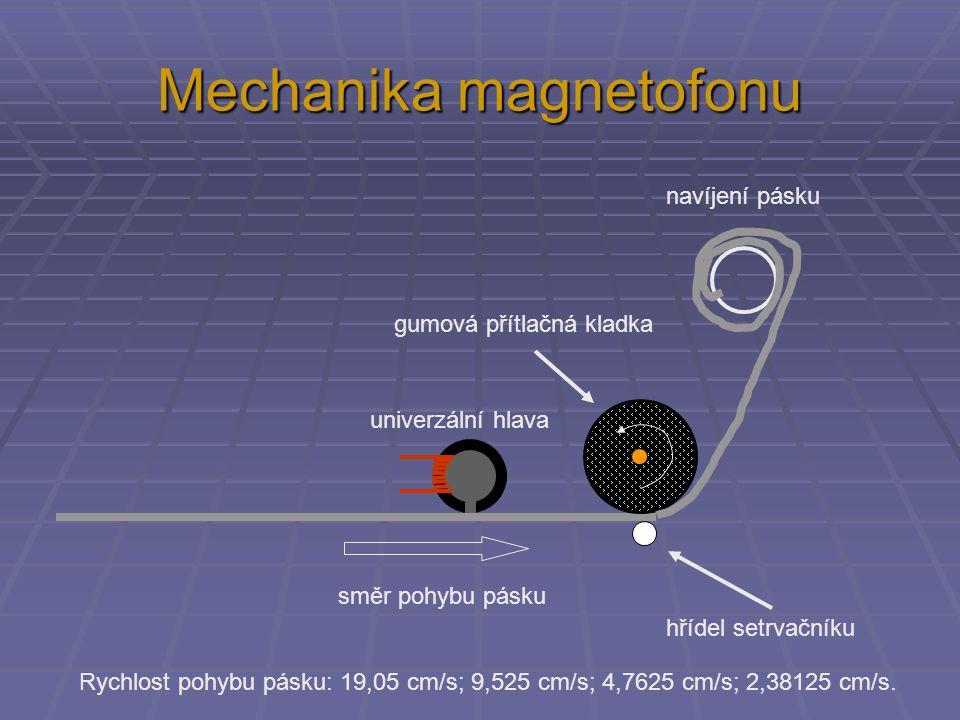 Mechanika magnetofonu gumová přítlačná kladka navíjení pásku směr pohybu pásku hřídel setrvačníku univerzální hlava Rychlost pohybu pásku: 19,05 cm/s;