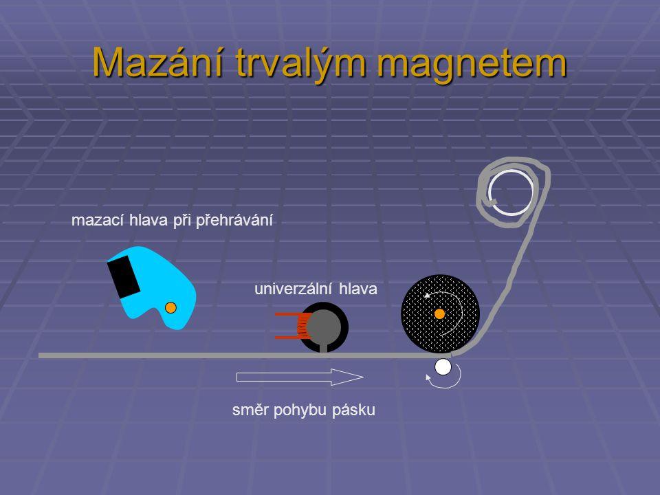 Mazací hlava se stejnosměrným proudem směr pohybu pásku mazací hlava univerzální hlava