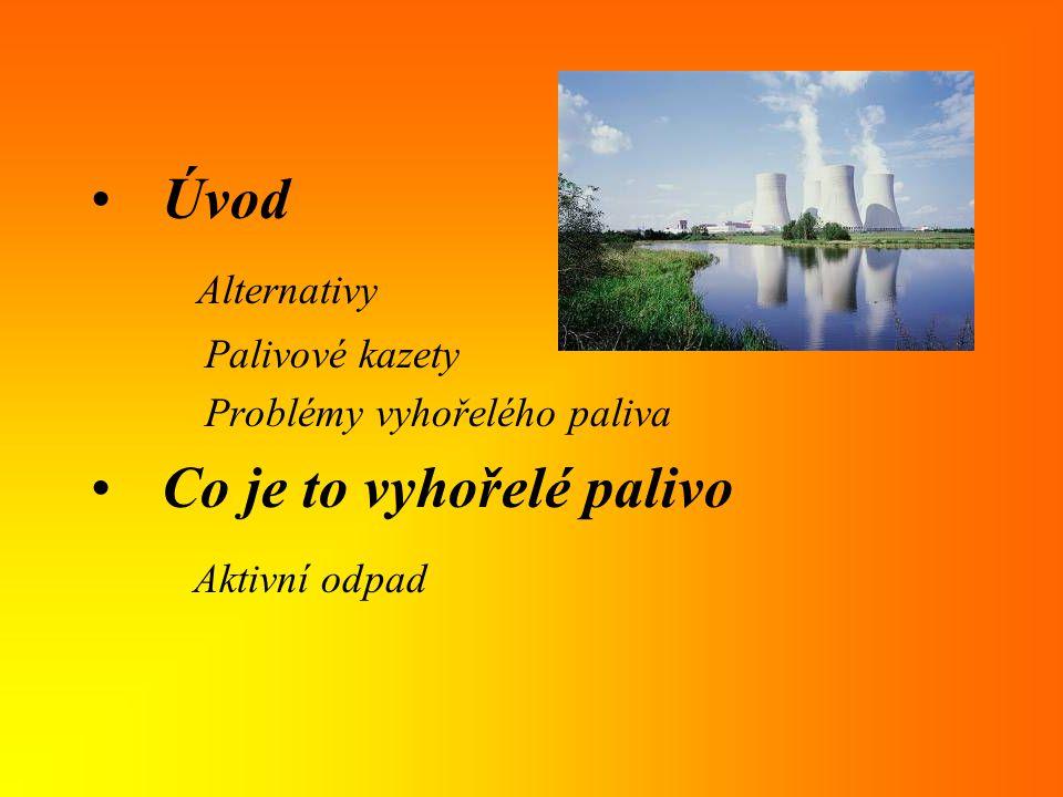 Úvod Alternativy Palivové kazety Problémy vyhořelého paliva Co je to vyhořelé palivo Aktivní odpad