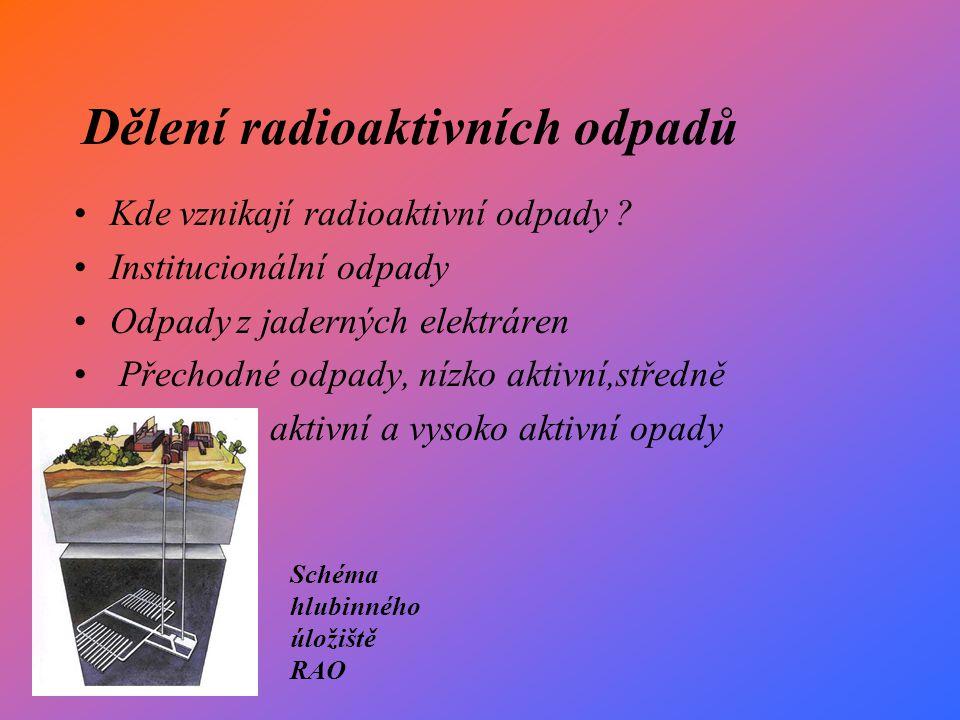 Dělení radioaktivních odpadů Kde vznikají radioaktivní odpady .