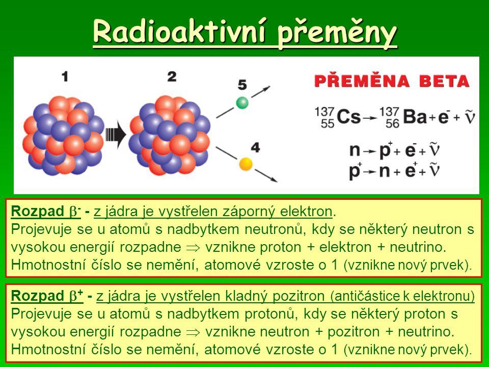 Radioaktivní přeměny Rozpad  - - z jádra je vystřelen záporný elektron. Projevuje se u atomů s nadbytkem neutronů, kdy se některý neutron s vysokou e