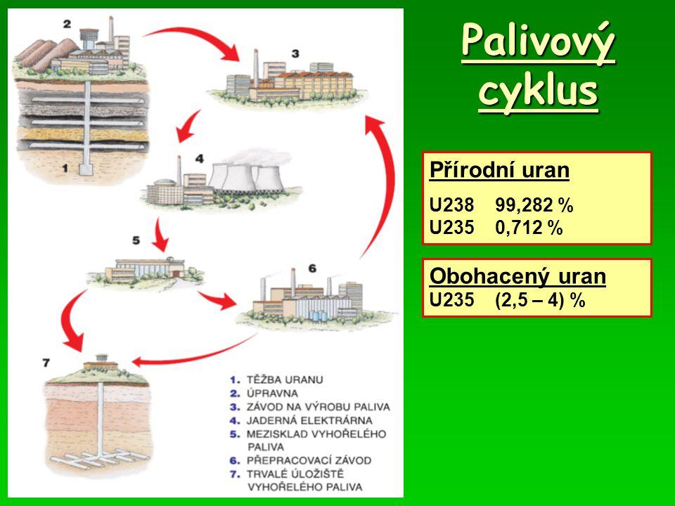 Palivový cyklus Přírodní uran U23899,282 % U2350,712 % Obohacený uran U235(2,5 – 4) %