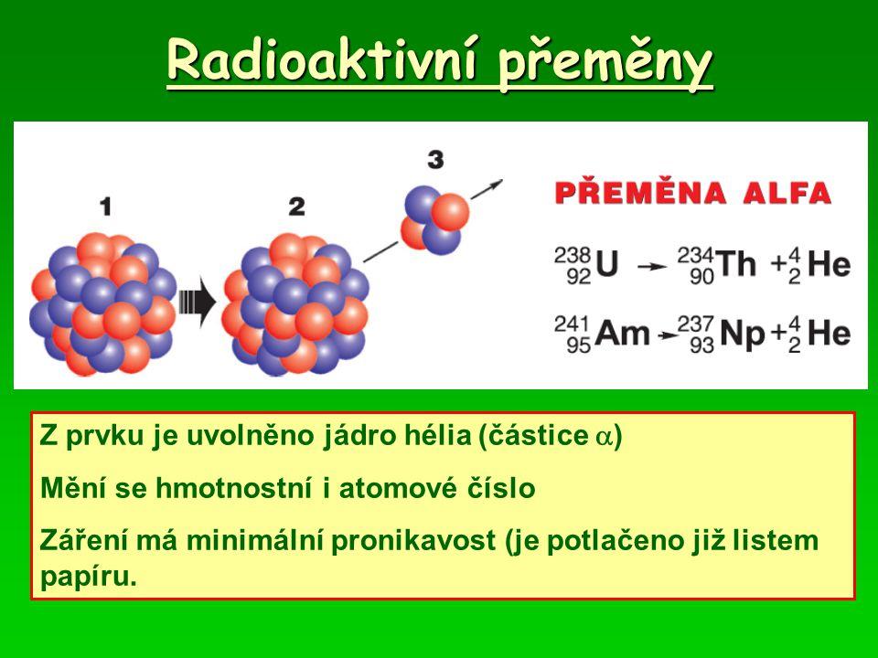 Radioaktivní přeměny Z prvku je uvolněno jádro hélia (částice  ) Mění se hmotnostní i atomové číslo Záření má minimální pronikavost (je potlačeno již