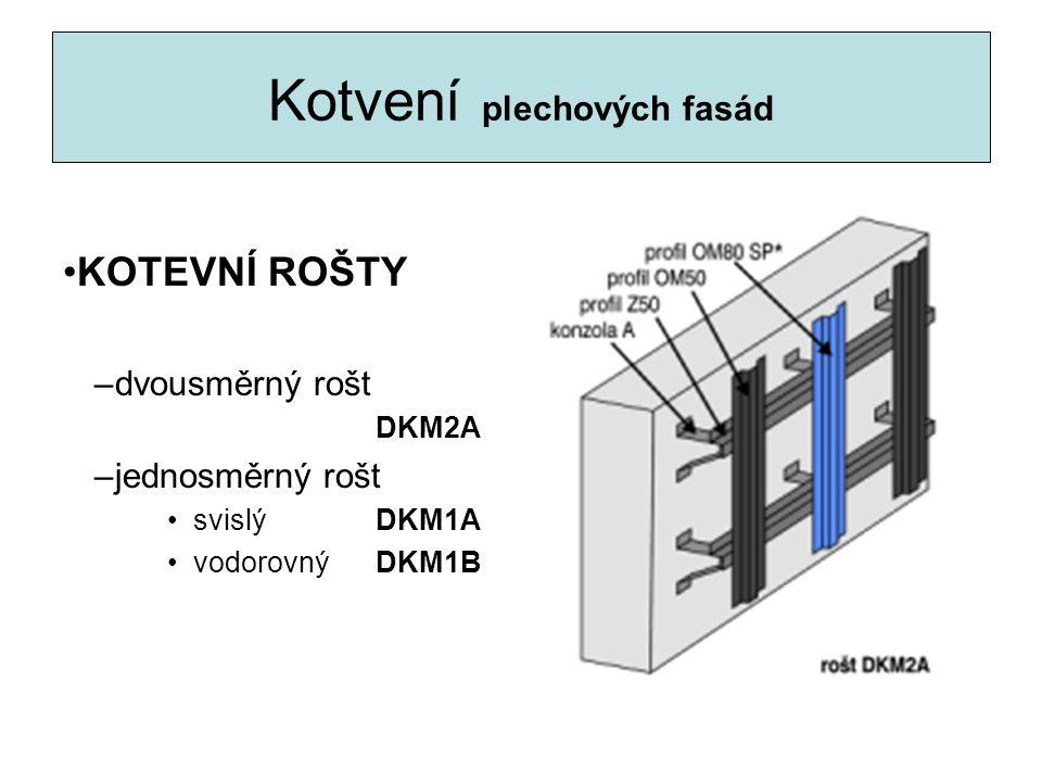 Kotvení plechových fasád KOTEVNÍ ROŠTY –dvousměrný rošt DKM2A –jednosměrný rošt svislý DKM1A vodorovnýDKM1B