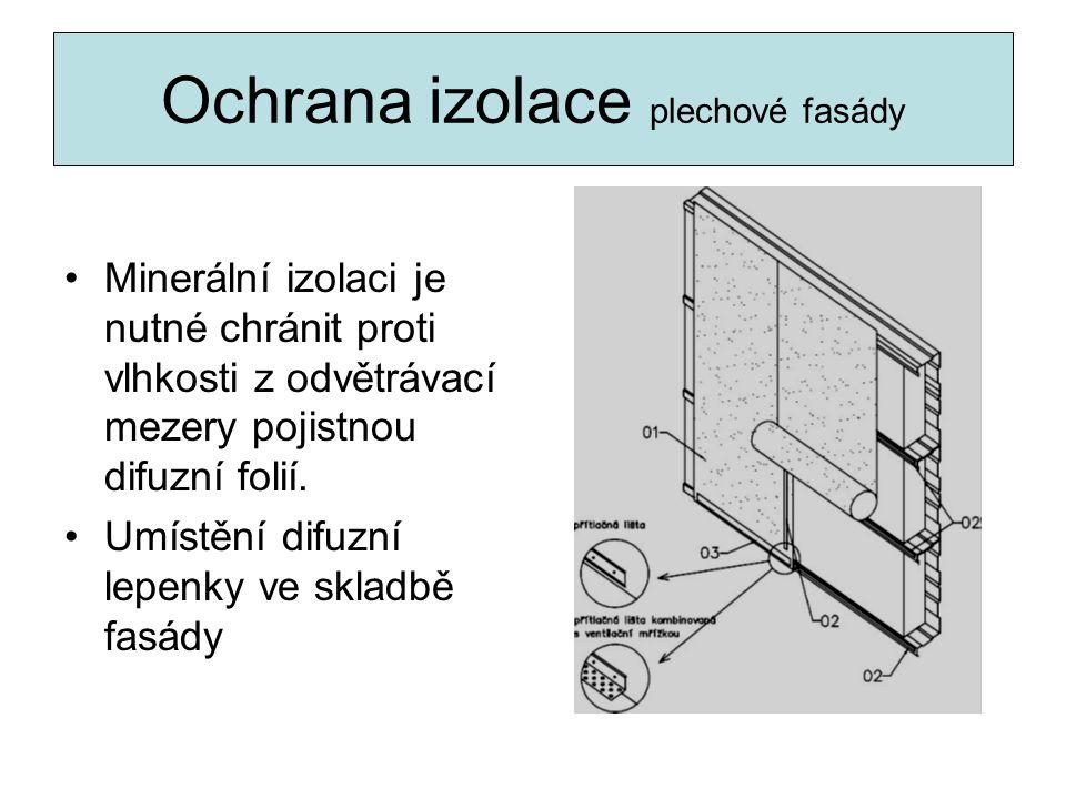 Ochrana izolace plechové fasády Minerální izolaci je nutné chránit proti vlhkosti z odvětrávací mezery pojistnou difuzní folií. Umístění difuzní lepen