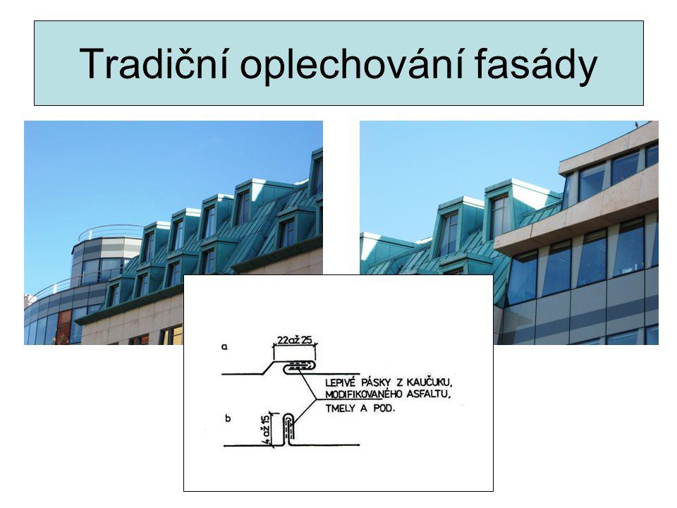 Kontaktní tepelná izolace plechové fasády Minerální vlna lepená a zajištěná talířovými hmoždinkami.