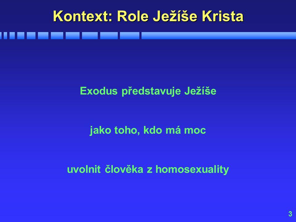 3 Kontext: Role Ježíše Krista Exodus představuje Ježíše jako toho, kdo má moc uvolnit člověka z homosexuality