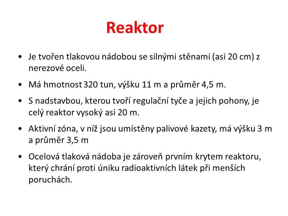 Reaktor Je tvořen tlakovou nádobou se silnými stěnami (asi 20 cm) z nerezové oceli. Má hmotnost 320 tun, výšku 11 m a průměr 4,5 m. S nadstavbou, kter