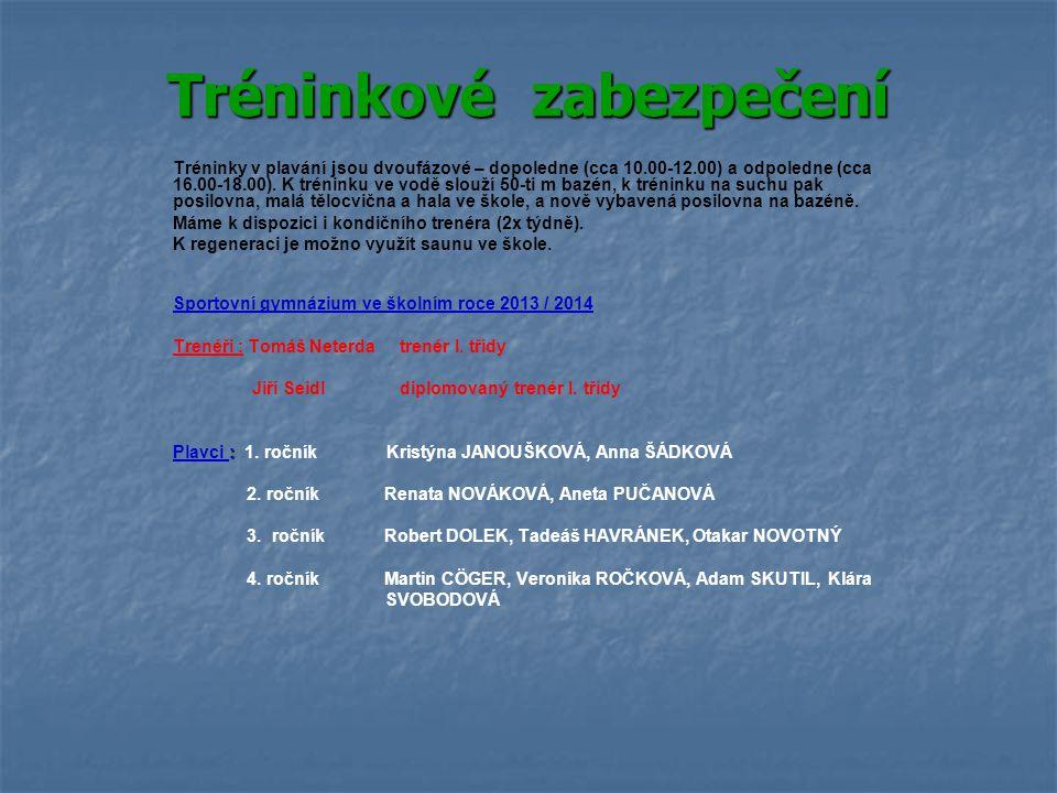Tréninkové zabezpečení Tréninky v plavání jsou dvoufázové – dopoledne (cca 10.00-12.00) a odpoledne (cca 16.00-18.00).