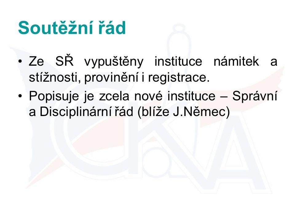 Soutěžní řád Ze SŘ vypuštěny instituce námitek a stížnosti, provinění i registrace.