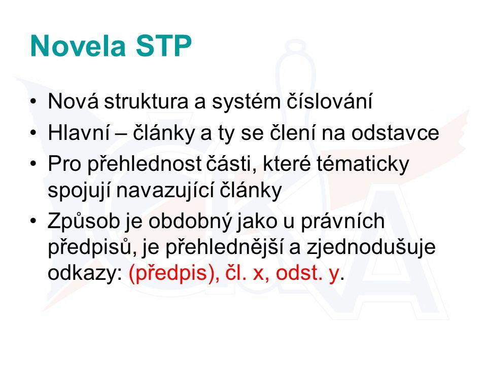 Novela STP Nová struktura a systém číslování Hlavní – články a ty se člení na odstavce Pro přehlednost části, které tématicky spojují navazující články Způsob je obdobný jako u právních předpisů, je přehlednější a zjednodušuje odkazy: (předpis), čl.