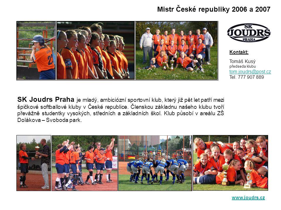 SK Joudrs Praha je mladý, ambiciózní sportovní klub, který již pět let patří mezi špičkové softballové kluby v České republice.