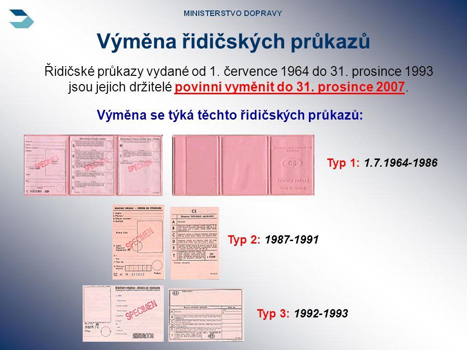 Výměna řidičských průkazů Řidičské průkazy vydané od 1. července 1964 do 31. prosince 1993 jsou jejich držitelé povinni vyměnit do 31. prosince 2007..