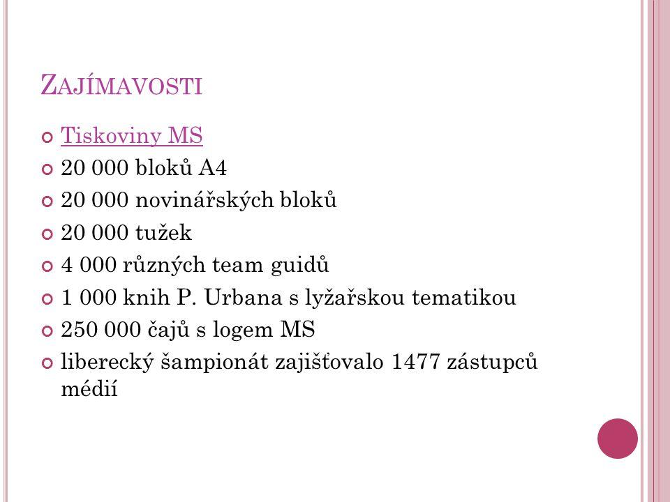 Z AJÍMAVOSTI Tiskoviny MS 20 000 bloků A4 20 000 novinářských bloků 20 000 tužek 4 000 různých team guidů 1 000 knih P. Urbana s lyžařskou tematikou 2