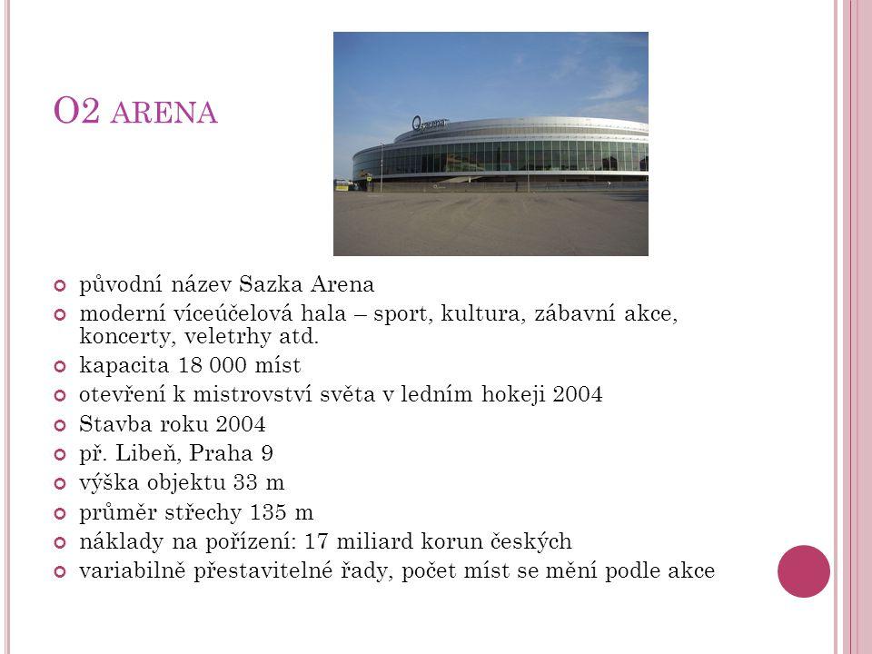 O2 ARENA původní název Sazka Arena moderní víceúčelová hala – sport, kultura, zábavní akce, koncerty, veletrhy atd. kapacita 18 000 míst otevření k mi