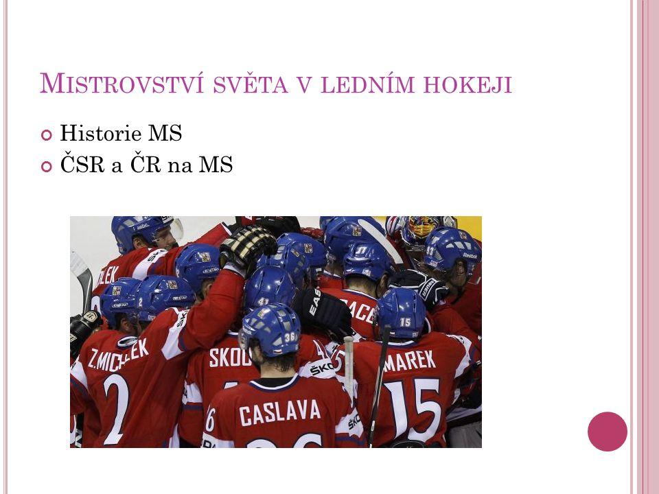 M ISTROVSTVÍ SVĚTA V LEDNÍM HOKEJI Historie MS ČSR a ČR na MS