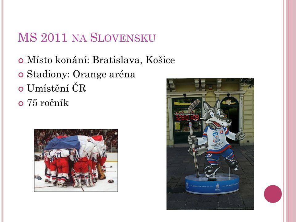 MS 2011 NA S LOVENSKU Místo konání: Bratislava, Košice Stadiony: Orange aréna Umístění ČR 75 ročník