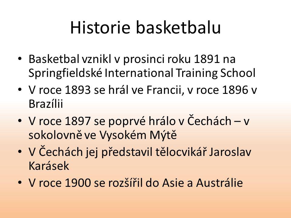Historie basketbalu Basketbal vznikl v prosinci roku 1891 na Springfieldské International Training School V roce 1893 se hrál ve Francii, v roce 1896 v Brazílii V roce 1897 se poprvé hrálo v Čechách – v sokolovně ve Vysokém Mýtě V Čechách jej představil tělocvikář Jaroslav Karásek V roce 1900 se rozšířil do Asie a Austrálie