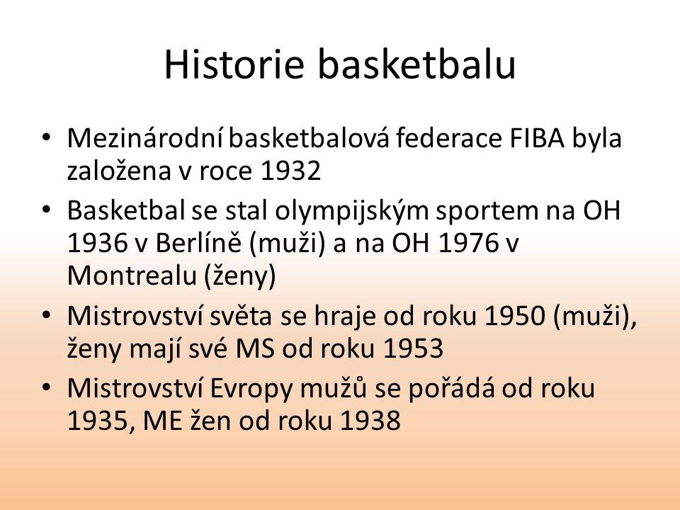 Historie basketbalu Mezinárodní basketbalová federace FIBA byla založena v roce 1932 Basketbal se stal olympijským sportem na OH 1936 v Berlíně (muži) a na OH 1976 v Montrealu (ženy) Mistrovství světa se hraje od roku 1950 (muži), ženy mají své MS od roku 1953 Mistrovství Evropy mužů se pořádá od roku 1935, ME žen od roku 1938