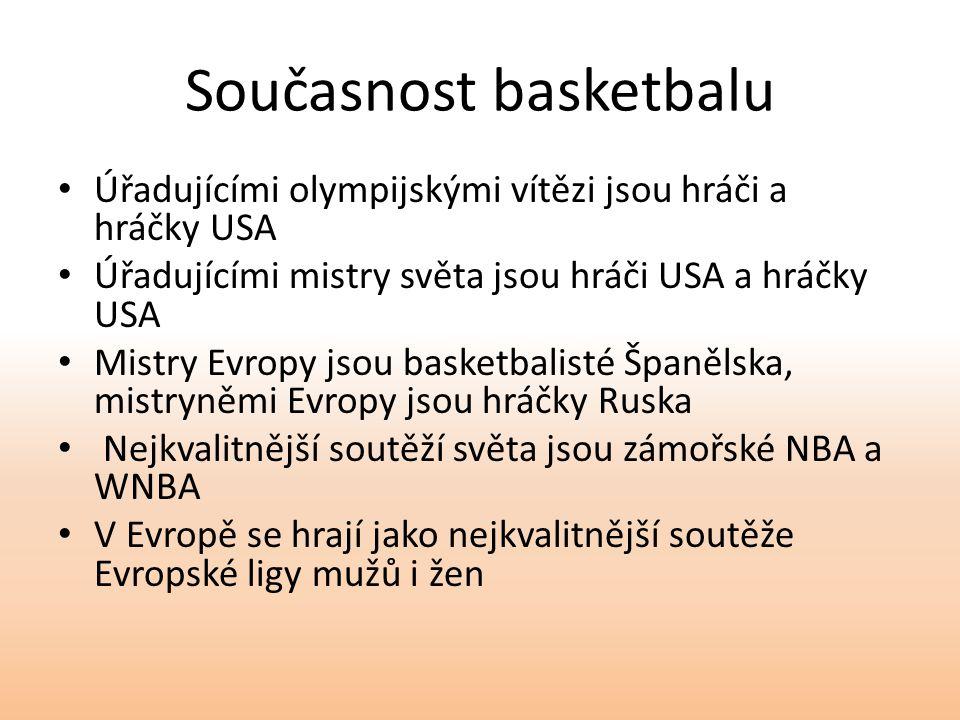 Současnost basketbalu Úřadujícími olympijskými vítězi jsou hráči a hráčky USA Úřadujícími mistry světa jsou hráči USA a hráčky USA Mistry Evropy jsou basketbalisté Španělska, mistryněmi Evropy jsou hráčky Ruska Nejkvalitnější soutěží světa jsou zámořské NBA a WNBA V Evropě se hrají jako nejkvalitnější soutěže Evropské ligy mužů i žen
