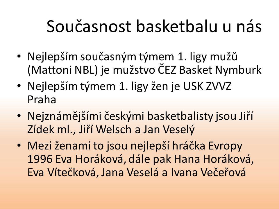 Současnost basketbalu u nás Nejlepším současným týmem 1. ligy mužů (Mattoni NBL) je mužstvo ČEZ Basket Nymburk Nejlepším týmem 1. ligy žen je USK ZVVZ