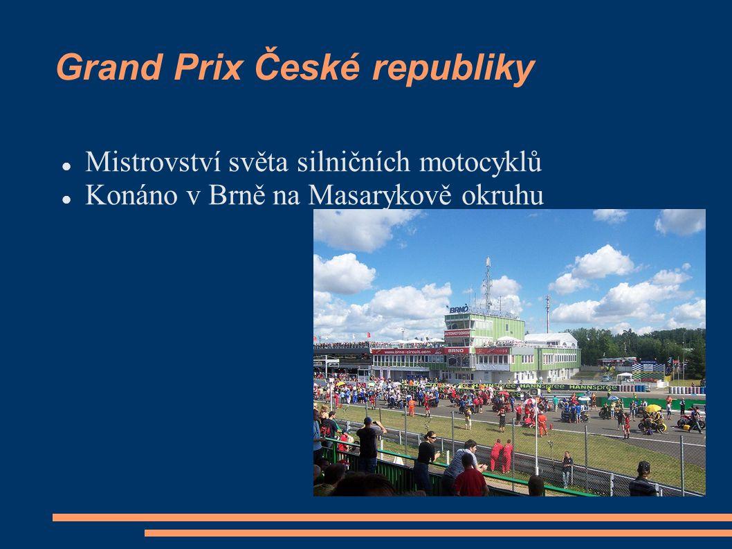 Grand Prix České republiky Mistrovství světa silničních motocyklů Konáno v Brně na Masarykově okruhu