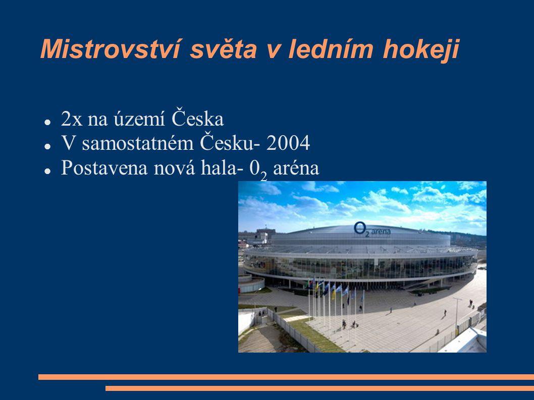 Mistrovství světa v ledním hokeji 2x na území Česka V samostatném Česku- 2004 Postavena nová hala- 0 2 aréna