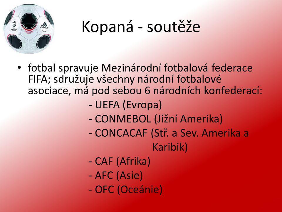 Kopaná - soutěže fotbal spravuje Mezinárodní fotbalová federace FIFA; sdružuje všechny národní fotbalové asociace, má pod sebou 6 národních konfederac