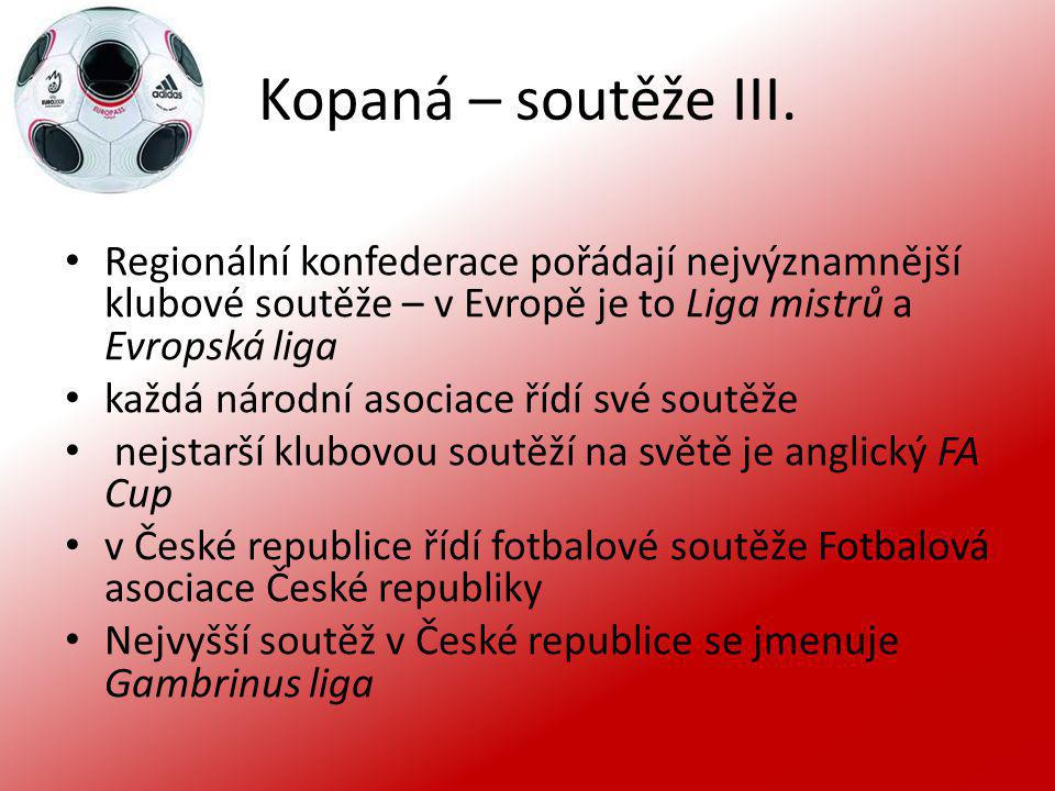 Kopaná – soutěže III. Regionální konfederace pořádají nejvýznamnější klubové soutěže – v Evropě je to Liga mistrů a Evropská liga každá národní asocia