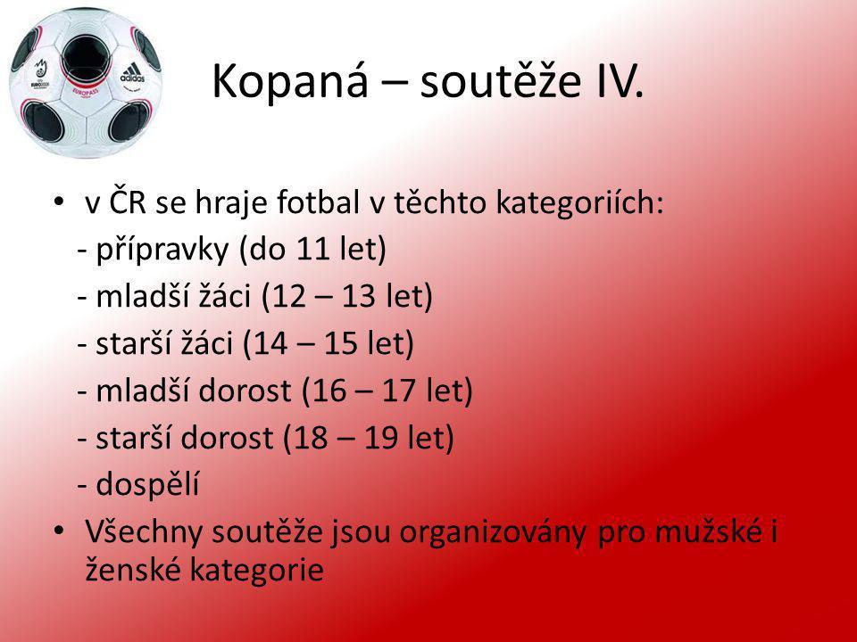 Kopaná – soutěže IV. v ČR se hraje fotbal v těchto kategoriích: - přípravky (do 11 let) - mladší žáci (12 – 13 let) - starší žáci (14 – 15 let) - mlad