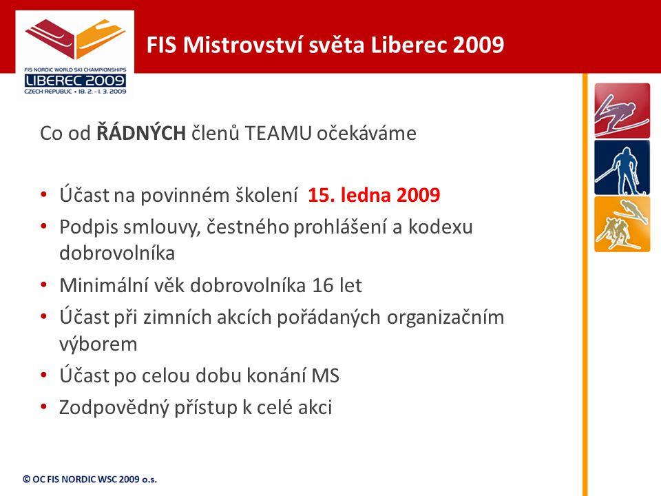 FIS Mistrovství světa Liberec 2009 Co od ŘÁDNÝCH členů TEAMU očekáváme Účast na povinném školení 15.