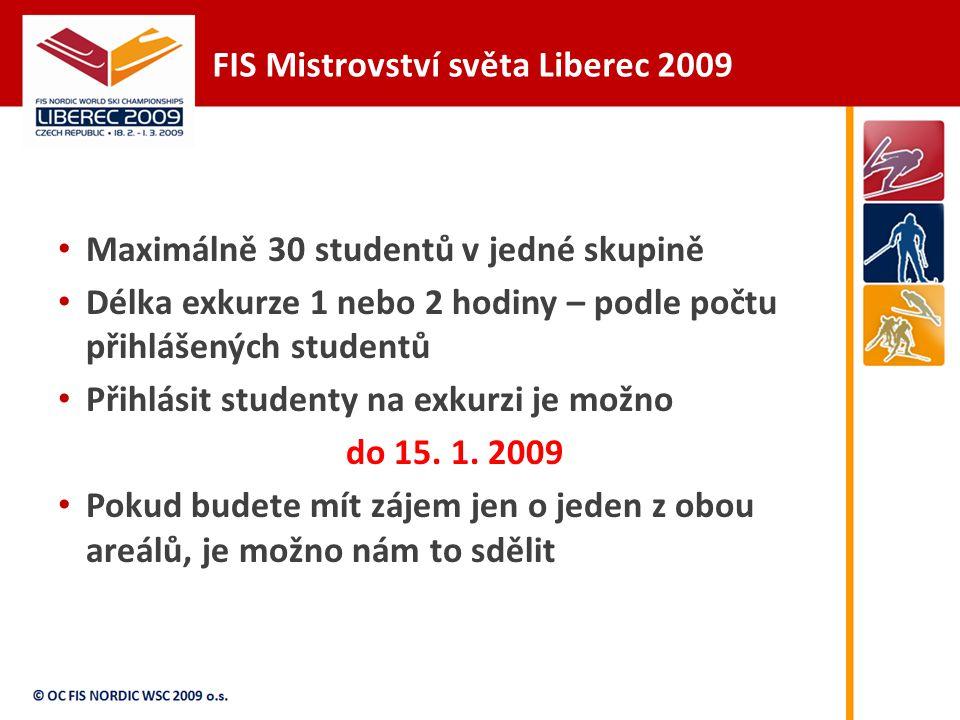 FIS Mistrovství světa Liberec 2009 Maximálně 30 studentů v jedné skupině Délka exkurze 1 nebo 2 hodiny – podle počtu přihlášených studentů Přihlásit studenty na exkurzi je možno do 15.