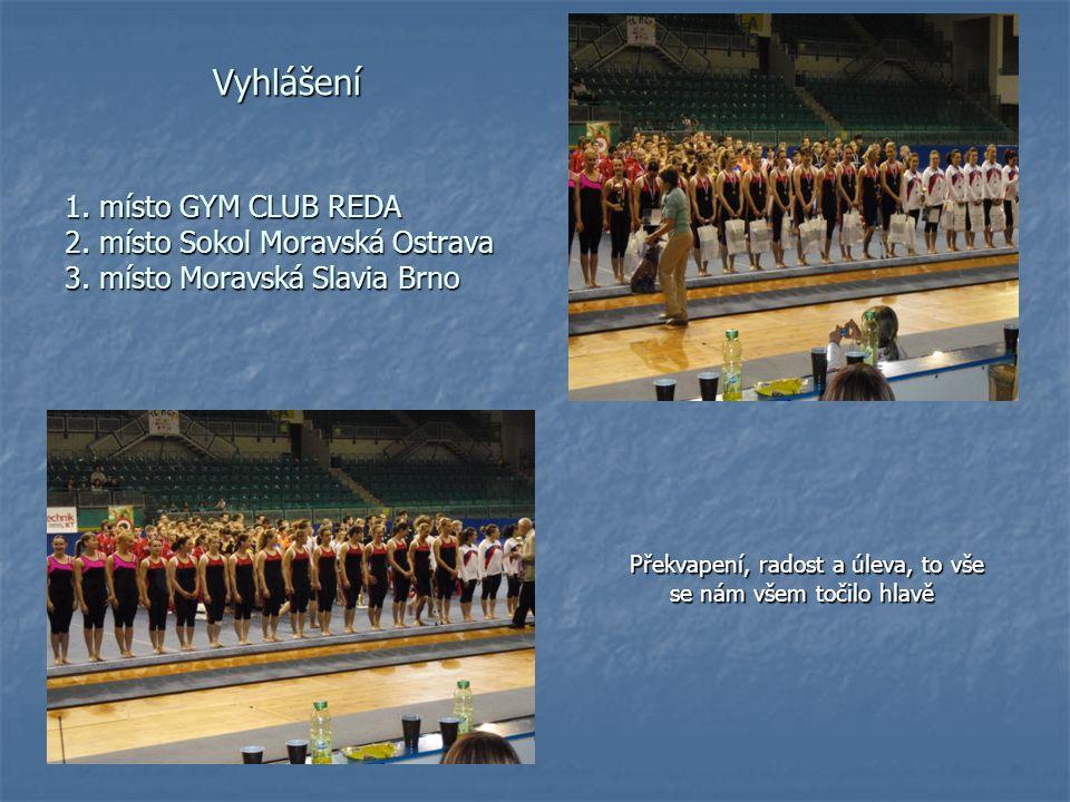 Vyhlášení 1. místo GYM CLUB REDA 2. místo Sokol Moravská Ostrava 3. místo Moravská Slavia Brno Vyhlášení 1. místo GYM CLUB REDA 2. místo Sokol Moravsk