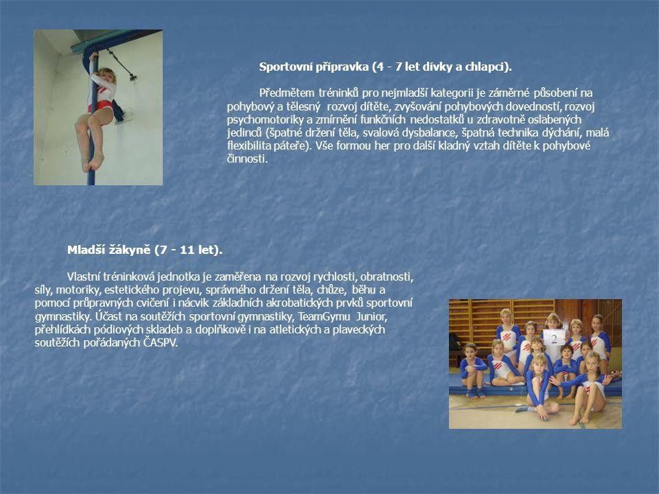 Sportovní přípravka (4 - 7 let dívky a chlapci). Předmětem tréninků pro nejmladší kategorii je záměrné působení na pohybový a tělesný rozvoj dítěte, z