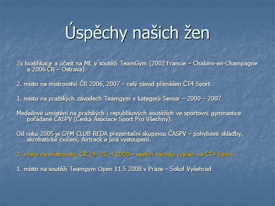 Úspěchy našich žen 2x kvalifikace a účast na ME v soutěži TeamGym (2002 Francie – Chalons-en-Champagne a 2006 ČR – Ostrava). 2. místo na mistrovství Č
