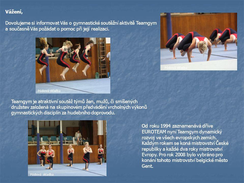 Vážení, Dovolujeme si informovat Vás o gymnastické soutěžní aktivitě Teamgym a současně Vás požádat o pomoc při její realizaci. Pódiová skladba Teamgy