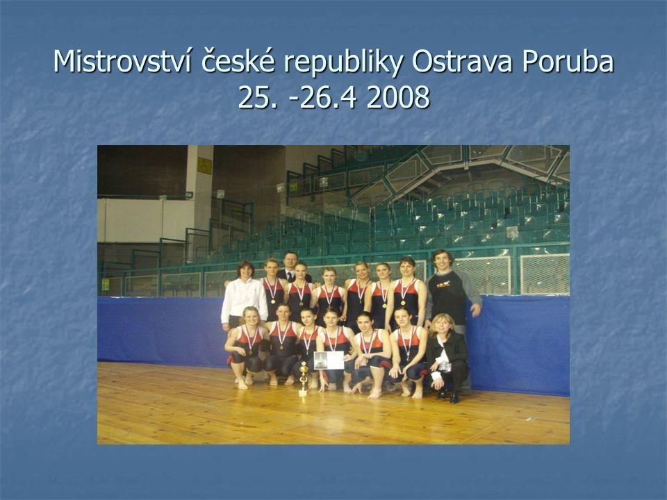 Trénink a snaha se vyplatily Po dlouhém trénování nadešel den, kdy náš team nasedl na vlak Pendollino a vydal se vstříc Ostravě-Porubě, ve které se konalo letošní mistrovství České republiky Teamgym senior.