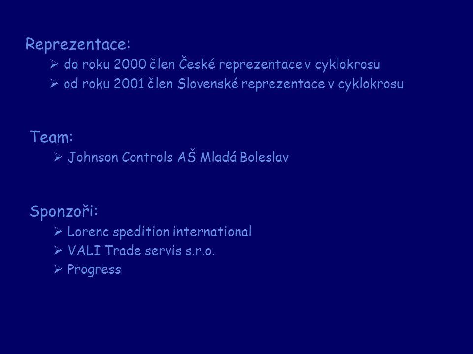 Reprezentace:  do roku 2000 člen České reprezentace v cyklokrosu  od roku 2001 člen Slovenské reprezentace v cyklokrosu Team:  Johnson Controls AŠ