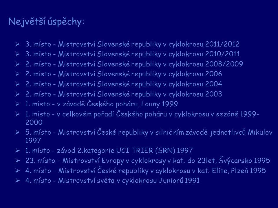  3. místo - Mistrovství Slovenské republiky v cyklokrosu 2011/2012  3. místo - Mistrovství Slovenské republiky v cyklokrosu 2010/2011  2. místo - M