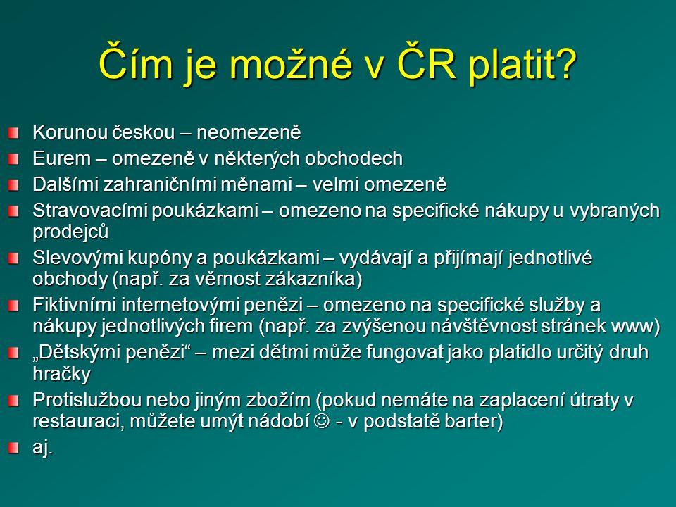 Čím je možné v ČR platit.