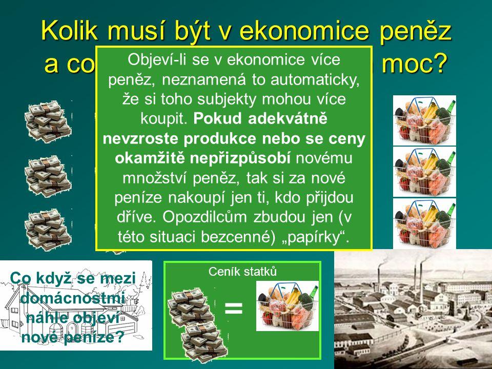 Ceník statků Kolik musí být v ekonomice peněz a co se stane, pokud je jich moc.