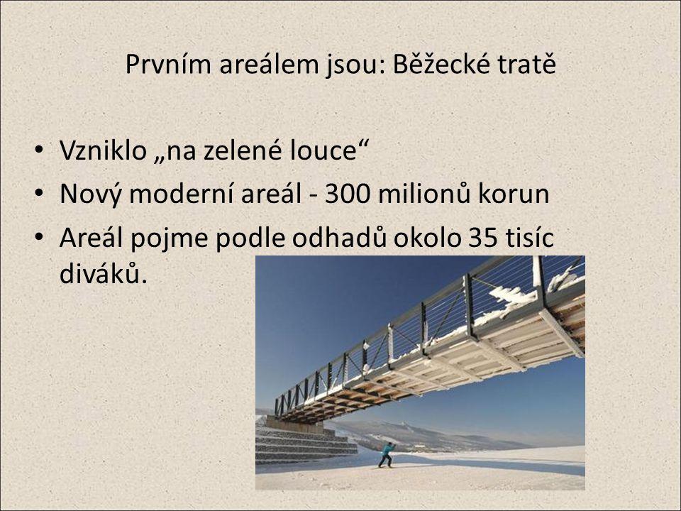 """Prvním areálem jsou: Běžecké tratě Vzniklo """"na zelené louce Nový moderní areál - 300 milionů korun Areál pojme podle odhadů okolo 35 tisíc diváků."""