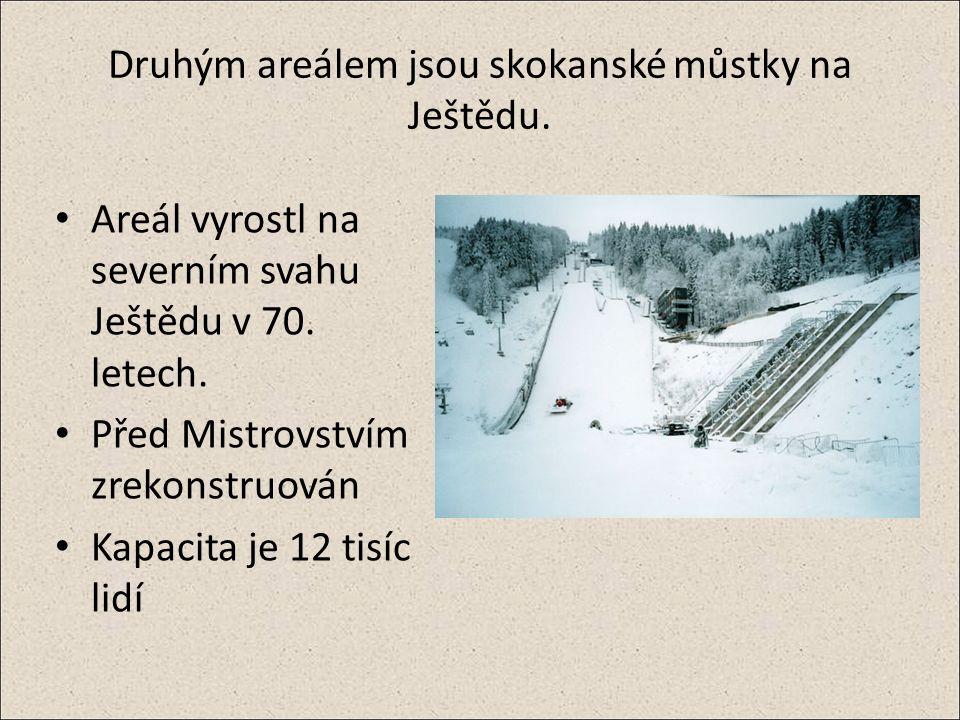 Druhým areálem jsou skokanské můstky na Ještědu. Areál vyrostl na severním svahu Ještědu v 70.