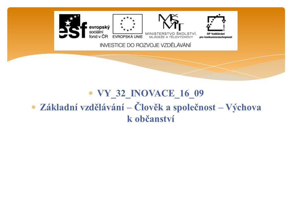  VY_32_INOVACE_16_09  Základní vzdělávání – Člověk a společnost – Výchova k občanství