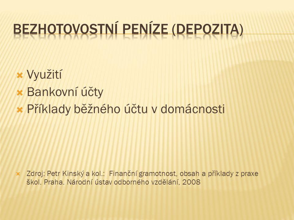 Využití  Bankovní účty  Příklady běžného účtu v domácnosti  Zdroj: Petr Kinský a kol.: Finanční gramotnost, obsah a příklady z praxe škol.