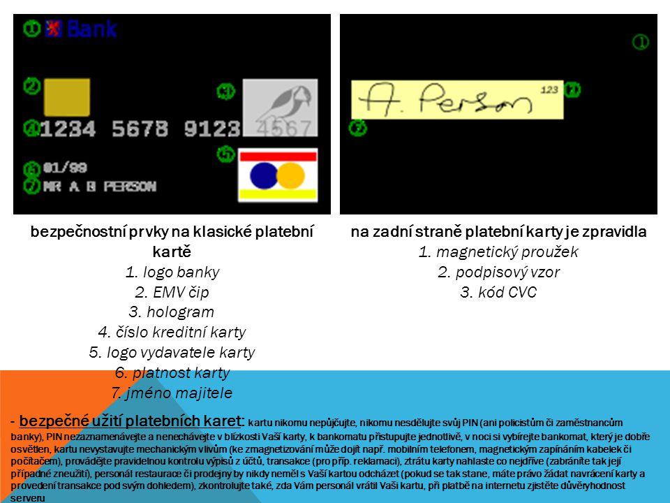 bezpečnostní prvky na klasické platební kartě 1. logo banky 2. EMV čip 3. hologram 4. číslo kreditní karty 5. logo vydavatele karty 6. platnost karty