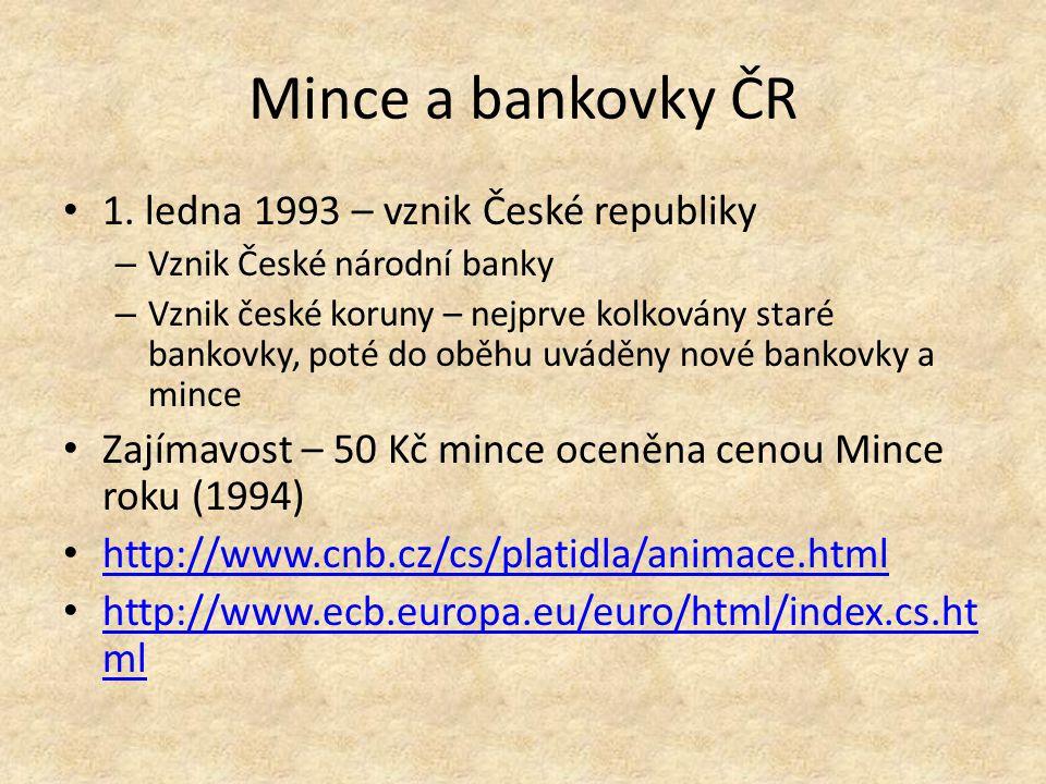Mince a bankovky ČR 1.