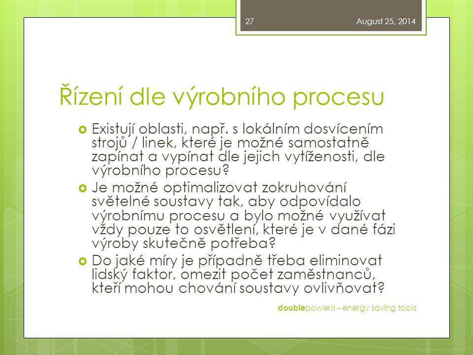 Řízení dle výrobního procesu  Existují oblasti, např.