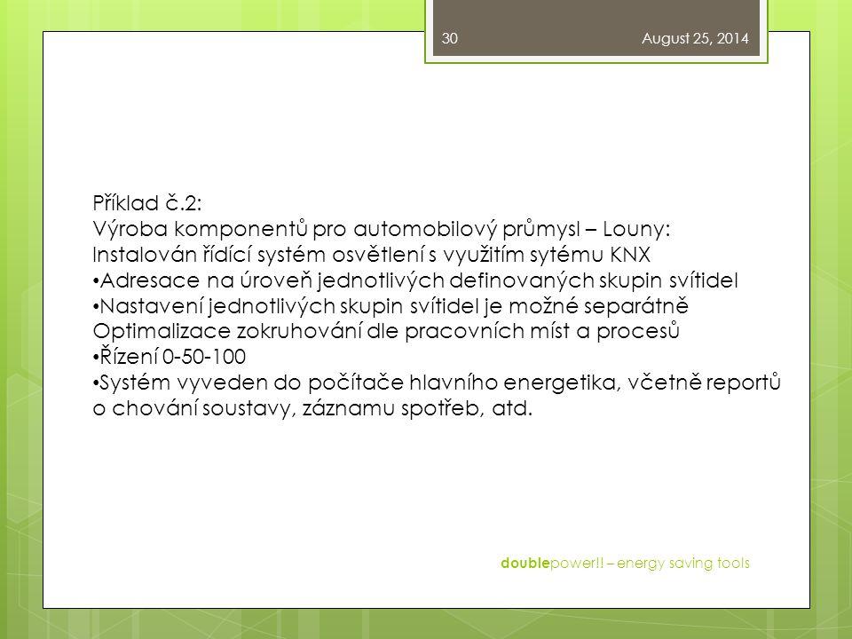 August 25, 2014 double power!! – energy saving tools 30 Příklad č.2: Výroba komponentů pro automobilový průmysl – Louny: Instalován řídící systém osvě