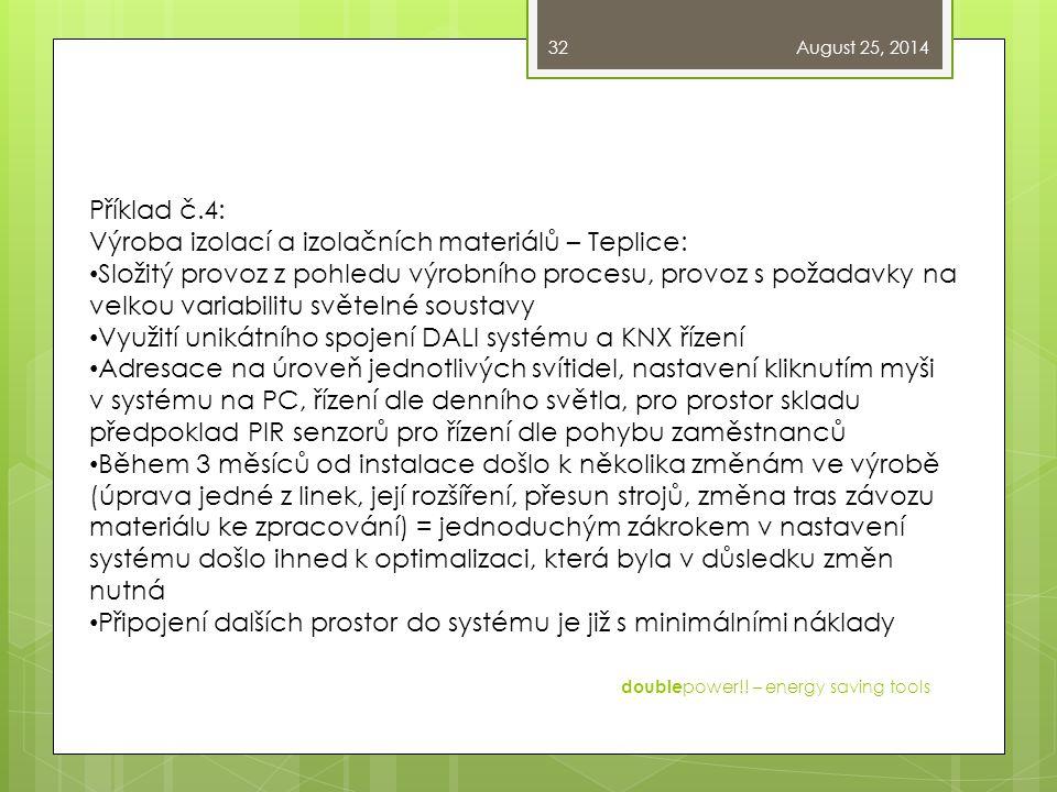 August 25, 2014 double power!! – energy saving tools 32 Příklad č.4: Výroba izolací a izolačních materiálů – Teplice: Složitý provoz z pohledu výrobní